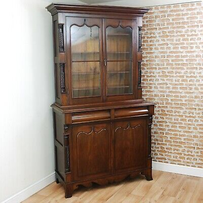 Antique Victorian Mahogany Bookcase Linen Press Housekeeper's Cupboard Cabinet