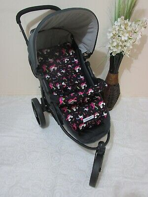 Pram liner set,universal,100% cotton fabric-Unicorn,black-Funky babyz,SALE*