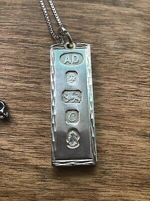 Fantastic vintage solid sterling silver ingot fob pendant & Chain Weight 33.5g