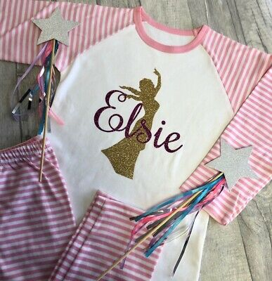 PERSONALISED DISNEY PRINCESS PYJAMAS Pink White Striped Girls PJs Gold Princess