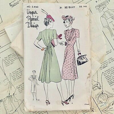 1930 Vintage Sewing Pattern Tea Day Dress Eclair Coupe Paris Afternoon VTG