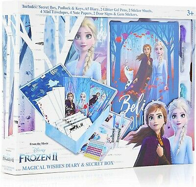 Disney Frozen 2 Secret Diary Set With Box and Lock Princess Anna and Elsa Gift
