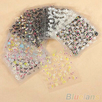 Am_ 10 Sheets Nail Art Transfer Stickers 3D Design Manicure Tips Decal Decoratio