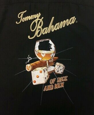 Tommy Bahama Men's Black S/S Of Dice And Men Embroidered Camp Shirt Sz M