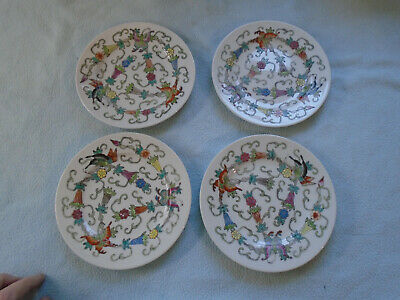 Set Of Four  1980s Chinese Famille Rose Dish Butterflies Theme
