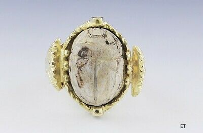 Unique 18k Gold & Antique Egyptian Pottery Scarab Beetle Ring