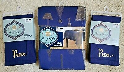 "Winter Wonder Lane Starry Night Blue Silver Fabric Tablecloth 60x84"" w/ Napkins"