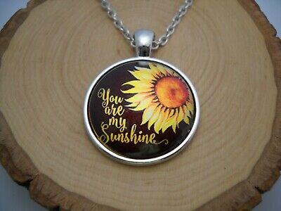 You are my Sunshine Sunflower Cabochon Glass Pendant with Silver Chain Necklace