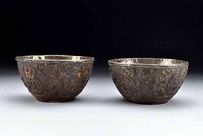 Signed Antique Chinese Export Silver Lined Carved Coconut Bowls