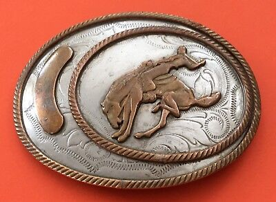 VTG Old BUCKNG BRONCO & COWBOY 🤠  Saddle Bronc German Silver BELT BUCKLE- Rodeo