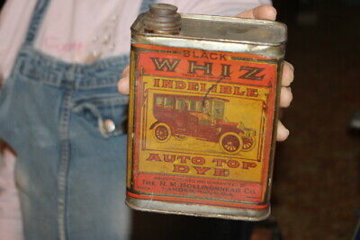 Vintage c.1915 Whiz Auto Top Dye Metal Can Gas Station Oil Sign