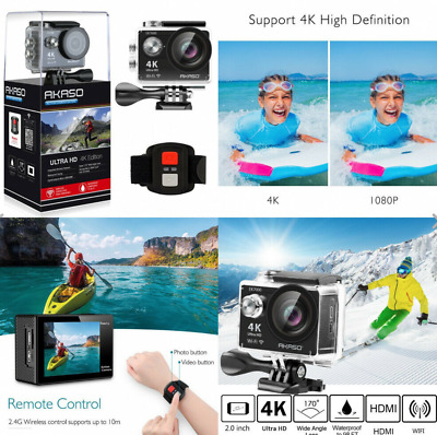 4K Sport Go Pro Action Camera Ultra HD 12MP WiFi Waterproof Remote Control NEW