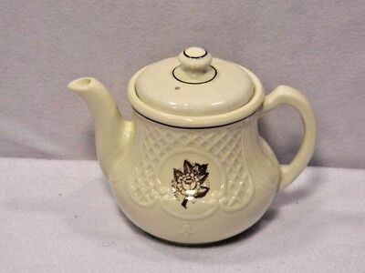Vintage Porcelier Teapot Shabby Rose Gilded Flower Off White Porcelain