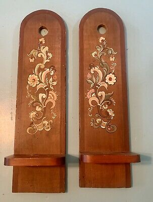 Vintage Mid Century Hanging Shelves Wooden Wall Art Hand painted Retro Floral