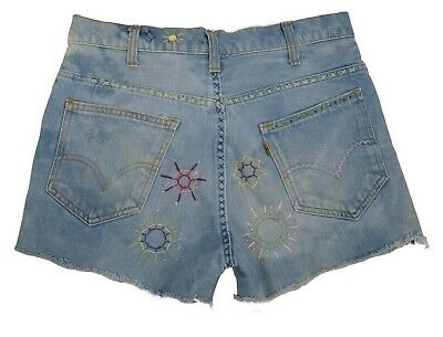 Vintage 70s Levis Big E Blue Hippy Embroidered Womens Cut Off Shorts Waist 30