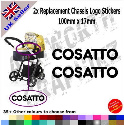 2x Cosatto Replacement Chassis Logo Stickers Pushchair Pram Stroller 35+ Colours