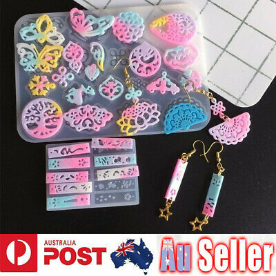 Silicone Hollow Earring Pendant Jewelry Making Mold Resin Mould Casting Craft
