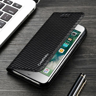 Magnetic Carbon Leather Flip Wallet Phone Case Cover for Apple iPhone 11 X 8 7 6
