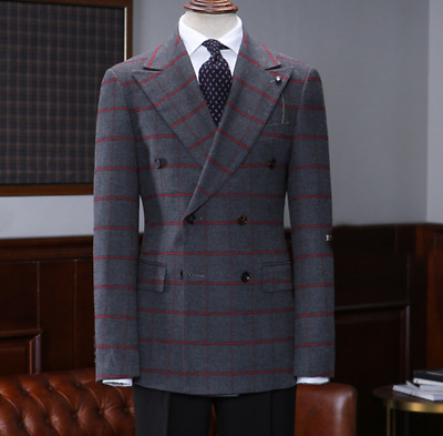 Men's Gray Suits Red Check Double-breasted Groom Wedding Blazer Peak Lapel Suit