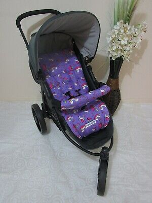 Handmade pram liner set-Unicorns,purple-100% cotton*Funky babyz,SALE*