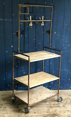 Vintage Industrial Medical Trolley Room Divider Rustic Pine Shelves DELIVERY*