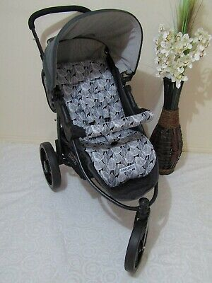 Stroller,pram liner set,universal,100% cotton fabric-Leaves,navy blue