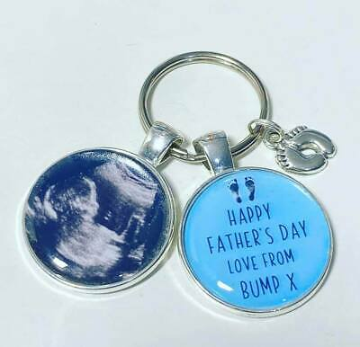Fathers day love from bump photo keyring daddy gift Daddy to be baby scan photo