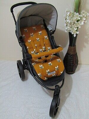 Stroller,pram liner set,universal,100% cotton fabric-Bees