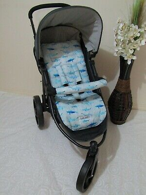 Stroller,pram liner set,universal,100% cotton fabric-Sharks