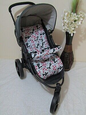 Stroller,pram liner set,universal,100% cotton fabric-Willy wagtail