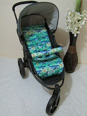 Pram liner set,universal,100% cotton fabric-Sea creatures-Funky babyz