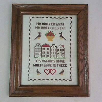 Vintage Embroidery Sampler Framed W/ Glass Home Love Birds 10x12Rustic Country