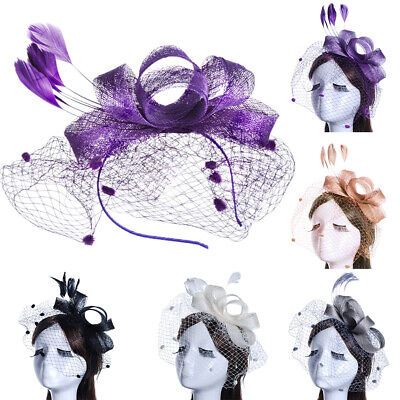 Party Hat Church Women Gift Bowknot Derby Day Feather Mesh Fascinator Headband