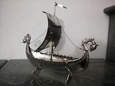 383g FANTASTIC QUALITY ANTIQUE SOLID SILVER BOAT 1959