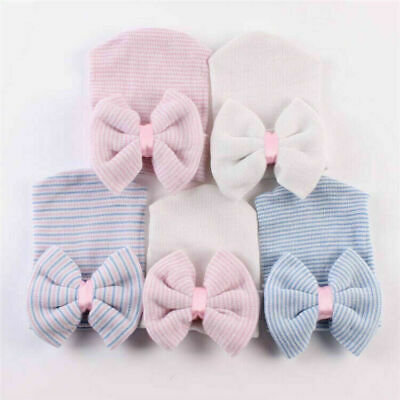 Baby Girl Big Bow Beanie Hat Cap Infant Newborn Pink Striped White Boy Cotton UK