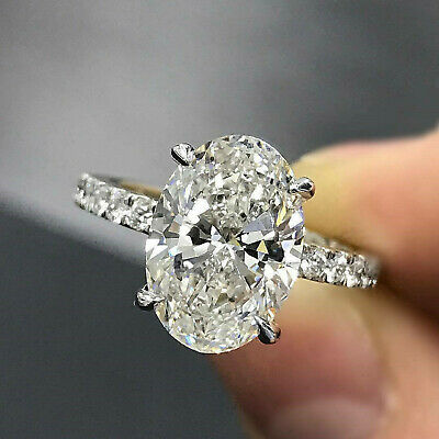 3.53 Ct Oval Cut Solitaire Diamond Engagement Ring Real Solid 14K White Gold