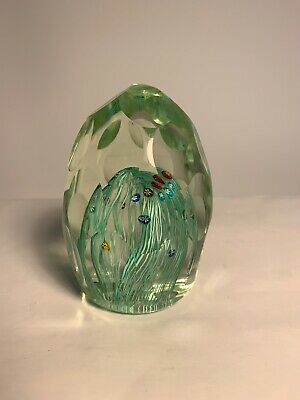 Vintage Paperweight Faceted Milliefiori Glass Paperweight Flower Design Egg