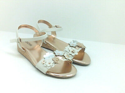 Kids Michael Kors Girls PERRY TANSY Leather Buckle Ankle, VANILLA, Size 3.0 fAmB