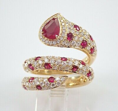 18K Yellow Gold 3.42 ct Diamond and Ruby Wrap Around Snake Ring Size 6.5 July