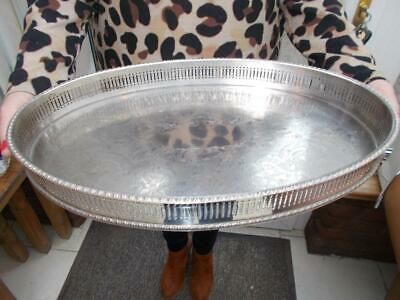 Vintage Sheffield Made Silver Plated Gallery Serving Tray