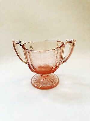 Vintage Pink Glass Floral Sugar Bowl Two-handle Cherry Blossom Etched