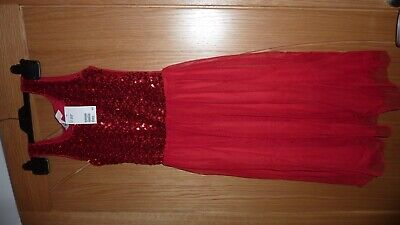 Sparkly H&M Sequins Red Sleeveless Dress Party Xmas Prom Age 12-14 Bnwt