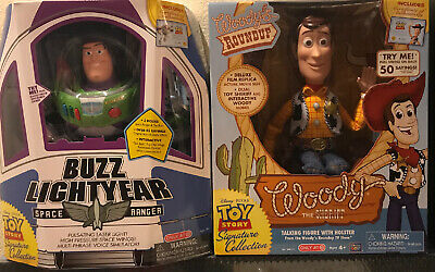 2 Disney Toy Story TALKING Woody & Buzz Lightyear Thinkway Signature Collection