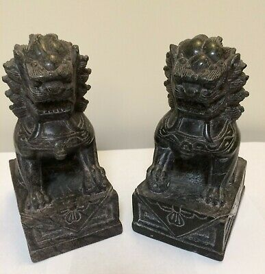 Chinese Foo Dog Soapstone Bookends