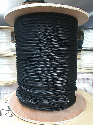 "1/4"" X 46'Anchor Line,Halyard line Polyester Double braid 2100 lb USA Black"