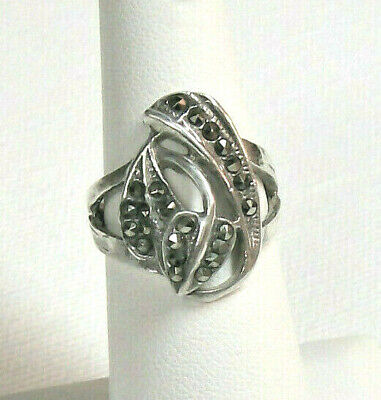 Vintage Art Deco Sterling Silver Marcasite Ring, Size 6.75