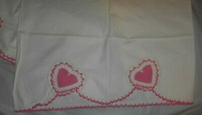 2 Vintage Pink Hearts Crocheted Design on White Cotton Pillowcases 21x32