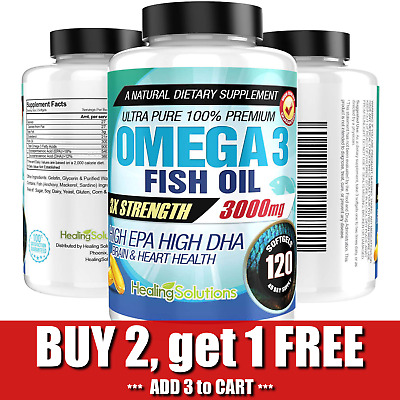 Ultra Pure Omega 3 Fish Oil 3000mg Small, Potent, Joint Pain Relief - XL 120ct