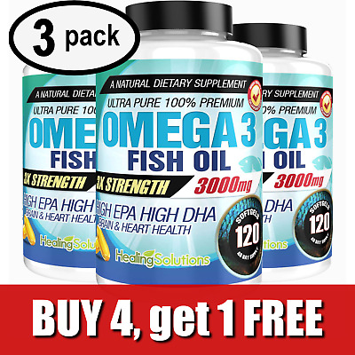 Ultra Pure Omega 3 Fish Oil 3000mg Potent, Joint Pain Relief - XL 120ct (3 PACK)