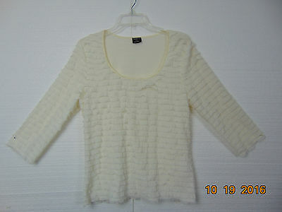 Womens Ladies TRIBAL Soft  Soft White Blouse  Top & Stretchy Size L C-106